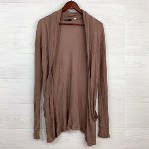 BDG Brown Open Drape Front Cardigan